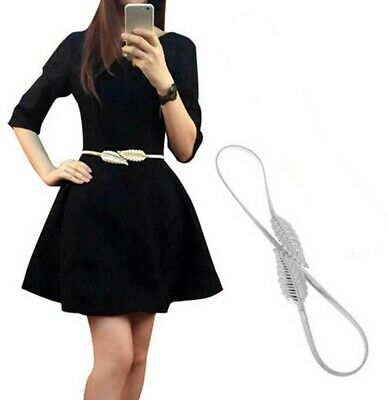 Women Belt Silver LEAF Elastic Metal Stretch High Waist Dress Cummerbund