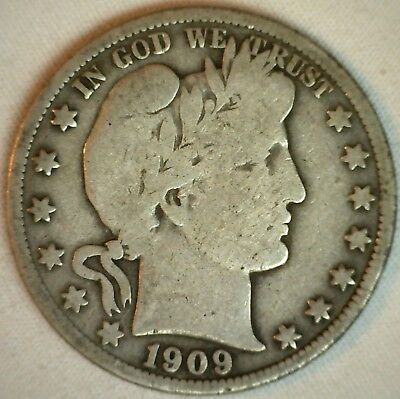 1909 Barber Silver Half Dollar 50 Cent US Type Coin VG Very Good K