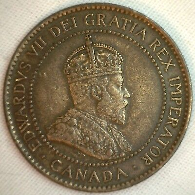 1902 Copper Canadian Large Cent Coin 1-Cent Canada XF #8