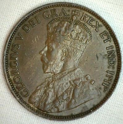 1920 Copper Canadian Large Cent Almost Uncirculated Coin 1-Cent Canada AU M2 1c