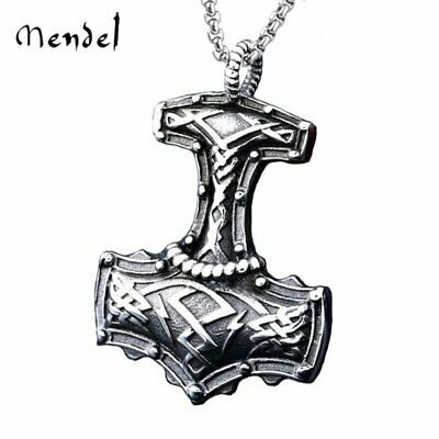 MENDEL Viking Thors Hammer Necklace Mjolnir Pendant Stainless Steel Norse Amulet