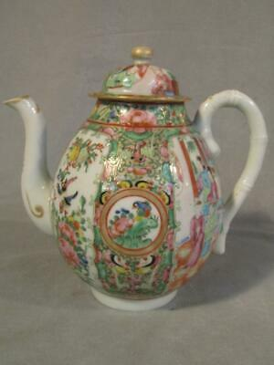 """Antique 8"""" Chinese Export Rose Medallion Teapot"""