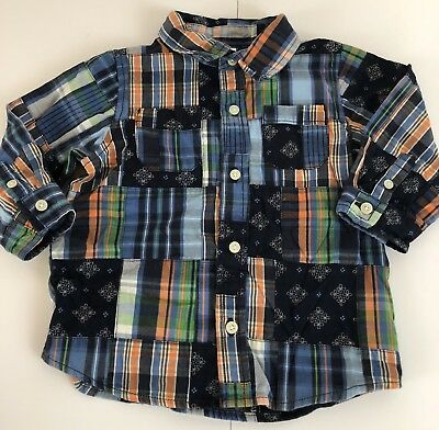 Baby Gap Boys 12-18 Months Button Front Long Sleeve Shirt Blue Orange Green EUC