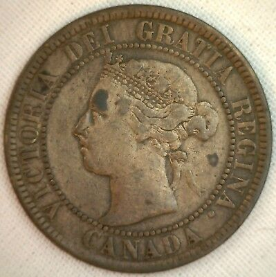 1900 Copper Canadian Large Cent Coin 1-Cent Canada VF #4