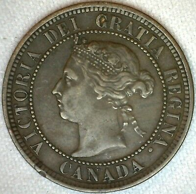 1888 Bronze Canadian Large Cent Coin One Cent Canada VF Very Fine 1c K332