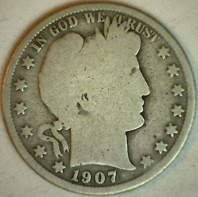 1907 S Silver Barber Half Dollar US Type Coin Good Denver Fifty Cents 50c K