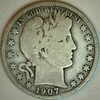 1907 D Silver Barber Half Dollar US Type Coin Fifty Cents 50c VG Very Good K