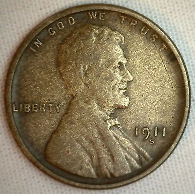 1911 S Lincoln Wheat Penny One Cent Copper Penny Coin 1c Very Fine VF M3