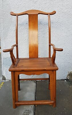 Antique Chinese Elm Wood High Back  Throne Chair Highback