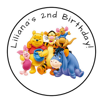 30 Personalized Winnie The Pooh Party Stickers favors labels birthday tags round