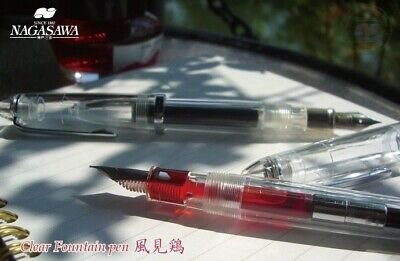 NAGASAWA Original Demonstrator Clear Fountain Pen Stainless Sailor from JAPAN
