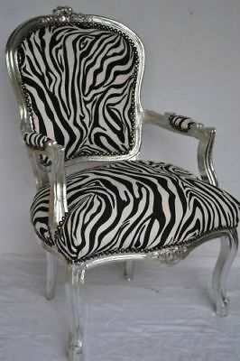 LOUIS XV ARM CHAIR FRENCH STYLE CHAIR VINTAGE FURNITURE zebra and silver wood