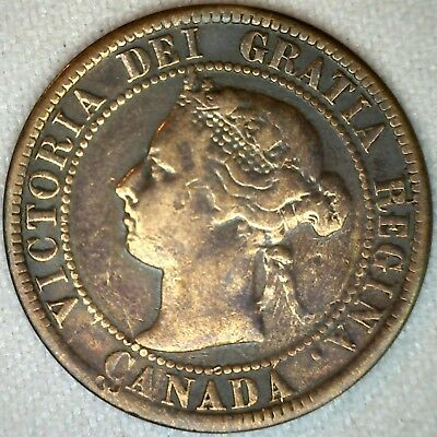 1893 Bronze Canadian Large Cent Coin One Cent Canada VG Very Good 1c K323