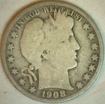 1908 S Barber Silver Half Dollar 50 Cent US Type Coin Good K
