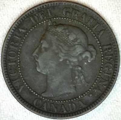 1893 Bronze Canadian Large Cent Coin One Cent Canada Fine 1c K318