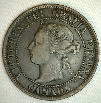1894 Copper Canadian Large Cent One Cent Coin Very Fine  #41