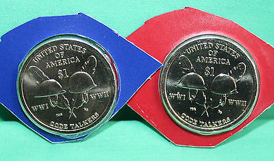 2016 P and D Sacagawea Dollar BU 2 Coins WW II Native American Code Talkers This