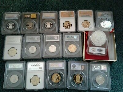 Ngc / Pcgs / Etc  Graded Coin Lot Silver Eagle Silver Quarters Susan B  Look !