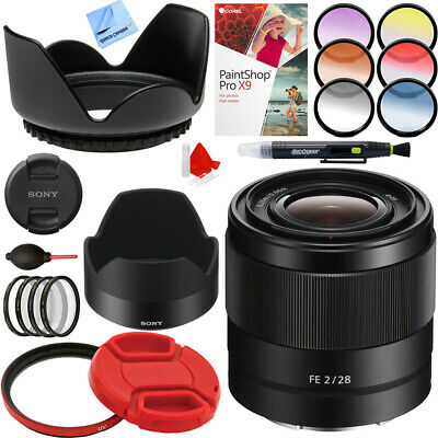 Sony FE 28mm F2 E-mount Full Frame Prime Lens + Accessories Bundle