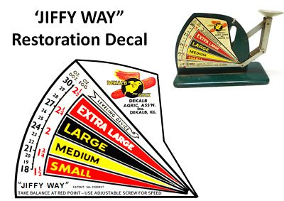JIFFY WAY ANTIQUE EGG SCALE  DEKALB CHICK RESTORATION  DECAL