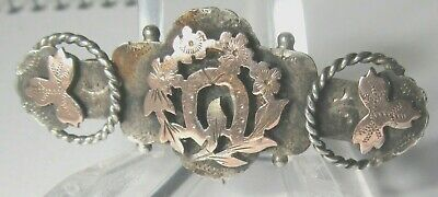 Antique 9.CT ROSE GOLD  Victorian sterling silver hallmarked sweetheart brooch
