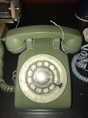 Vintage Green Western Electric Desk Phone 1970s rotary dial