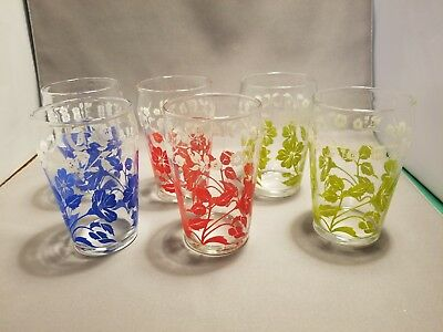6 Vintage Retro Red Blue Green White Floral Swanky Swigs Juice Glasses
