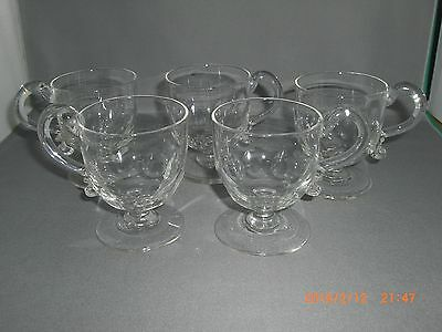 5 Antique American Glass Olive Cut Blown Crystal Footed Handled Punch Cups