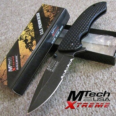 MTech Xtreme Tactical SPRING Assisted Folding KNIFE w/Black STONEWASHED Blade MX