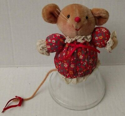 Avon Mouse Country Calico Red Floral Plush Eyelet Trim Soft Brown Mini Vtg Toy
