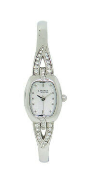 Caravelle by Bulova 43L62 Women's Clear Stone Tonneau Bangle Analog Watch