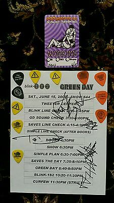 Green Day Blink 182 2002 Autographed Signed Tour Sheet Guitar Picks & Drumsticks