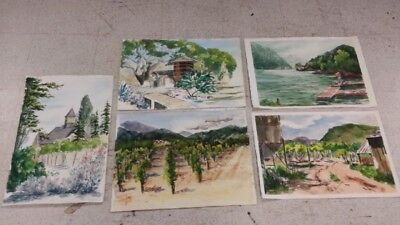 Art Water Color Pictures Set of 5 Unknown Artist paintings nice