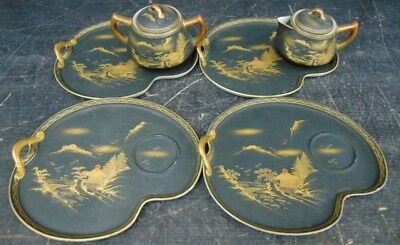 Asian Style Tray Set W/ Cream & Sugar Containers rare vintage hand painted Japan