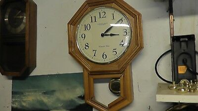 working wall clock sterling & noble company westminster chime wood wooden glass