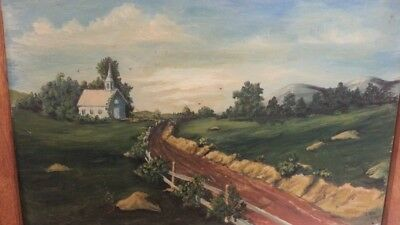 "20"" x 14"" Signed Road To Church Painting On Wood Ruth Maifield Antique Vintage"