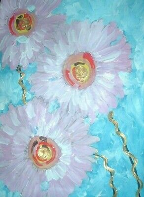Pink Daisies original painting By PB  hippy Flower Child art abstract 9x12 NR