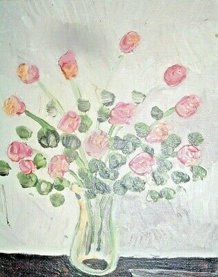 original oil painting art By PB flower child art Pink Roses 5x7 impressionist NR