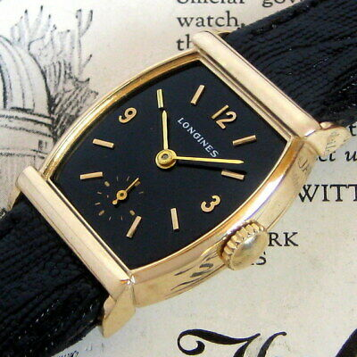 Mens 1946 Longines 14K SOLID GOLD Tonneau BLACK DIAL Art Deco Swiss Made Watch