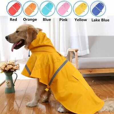 XL Dog RainCoat Pet Jacket Puppy Outdoor Clothes Waterproof Hooded Raincoat US