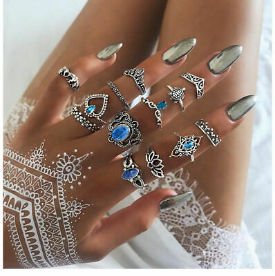 13pcs Sky Blue Crystal Turtle Finger Rings Knuckle Midi Ring Set Boho Jewelry