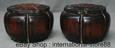 "5.2"" Old Chinese Redwood Carving Palace Flower Game of Go Weiqi Jar Jug Pair"