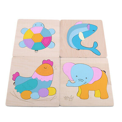 Newest Animals Wooden Blocks Toddler Baby Kids Child Educational Toy Puzzle