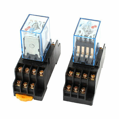 2 Pcs AC 110/120V Coil 14Pin 4PDT 35mm DIN Rail Electromagnetic Power Relay