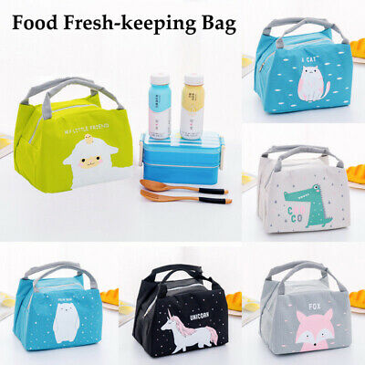 Kids Portable Thermal Insulated Lunch Box Container Floral Bag Tote Bento Pouch