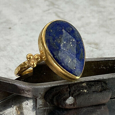 Free Size* 925k Silver Ancient Roman Art Drop Lapis Ring By Omer 24k Gold Plated