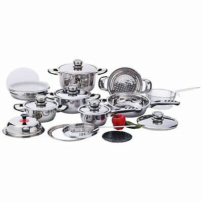 22pc Stainless Steel Cookware Set 12-Element, High-Quality, Heavy-Duty