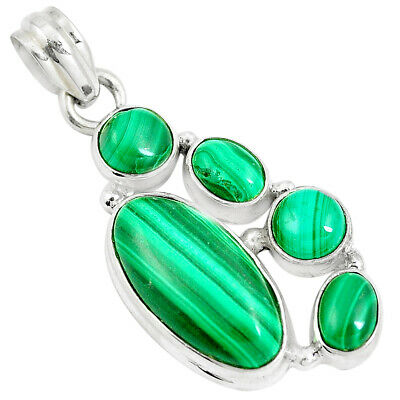 925 Sterling Silver 13.81cts Natural Green Malachite Pendant Jewelry M88768