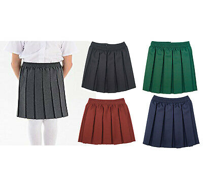 3bd4ae155 Girls School Skirt Kids Box Pleated Uniform Elasticated Waist Age 2-18Yrs
