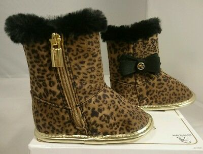 7254c37f87cd 2 Michael Kors Infant Shoes NEW Baby Baba 888 Booties Leopard Print CUTE: 3-